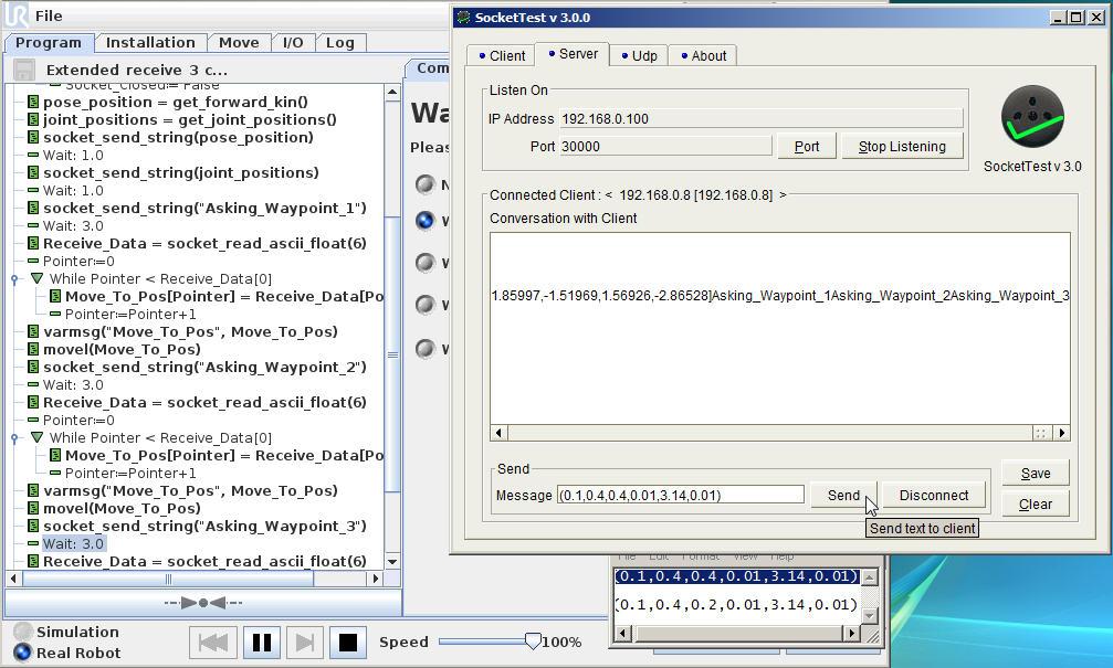 UR Script: Client-Server example | Zacobria Universal-Robots