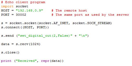 Script from host to robot via socket connection |