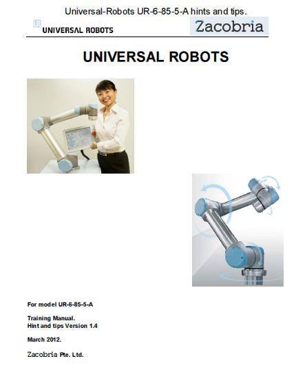 comprehensive hints and tips manual version for Universal-Robot in pdf